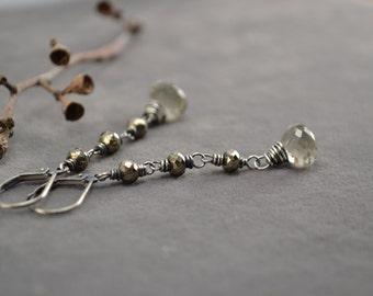 Green Amethyst Earrings,  Pyrite Earrings, Long Dangle Earrings, Oxidized Silver, Sterling Silver, Green Earrings, Lever Backs, Wire Wrapped