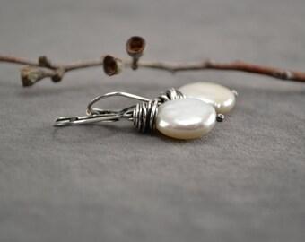 Freshwater Pearl Earrings, Oxidized Pearl Earrings, Pearl Earrings, Coin Pearl Earrings, Oxidized Earrings, Pearls Dangle,  June Birthstone
