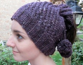 Knitted Winter Ponytail Hat
