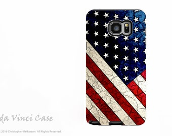 American Flag Galaxy Note 5 Case - Protective Dual Layer Galaxy Note Case with USA Flag Art - Stars and Stripes - Samsung Galaxy Note 5 Case