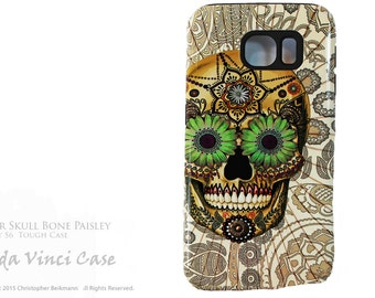 Sugar Skull Bone Paisley Galaxy S6 Case - TOUGH dual layer S 6 Case with Day of The Dead Art