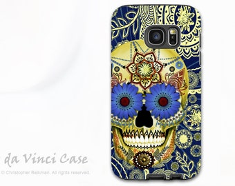 Blue Skull Galaxy S7 EDGE Case - Premium Two Piece Samsung Galaxy S 7 EDGE Case with Day of The Dead Art - Sugar Skull Blues