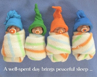 Art Print, OOAK Clay Babies, Well Spent Day Brings Peaceful Sleep, Polymer Clay Bundle Babies Lying in Bed, Midwife, Doula Gift Idea