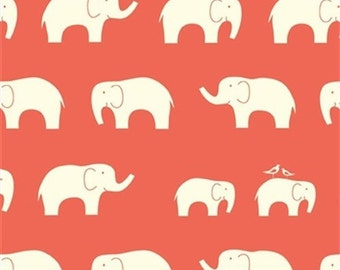 SALE!!!!! Elephant Family Coral from Birches Mod Basics range - 100% certified organic cotton interlock knit.
