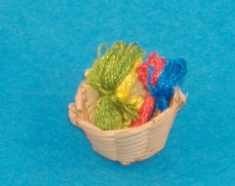 Miniature Vintage Embroidery Floss Basket with Green, Yellow, Red & Blue Thread - Great Accessory for Your Dollhouse, Shadow Box