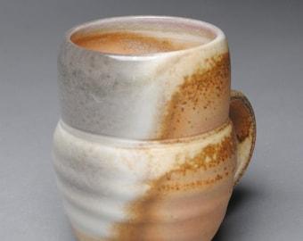 Clay Coffee Mug Beer Stein  Wood Soda Fired  E12