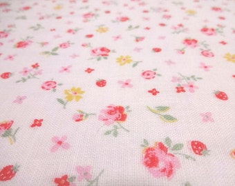 SALE Japanese Double Gauze Flower Rose and Strawberry Pink 1/2 yard