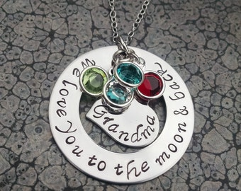 Grandma Jewelry Personalized Hand Stamped Mother's Day Gift For Grandma Personalized Jewelry We Love You to the Moon and Back