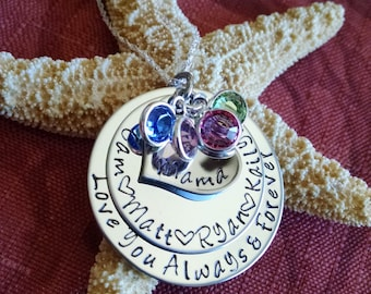 Mother's Day Gift for Mom Personalized Mothers Necklace Custom Hand Stamped Necklace Love You Always & Forever