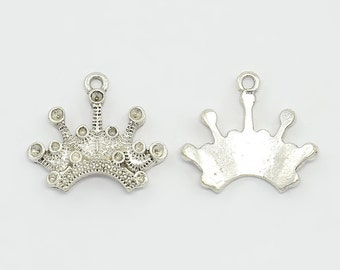 Crown Charms Crown Pendants Queen Charms Princess Charms Silver Crown Charms BULK Charms Wholesale Charms Royal Charms 50pcs