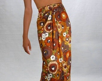 ON SALE 1970's Island Fever Wrap Skirt & Top