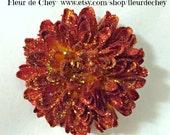 Elegant Burnt Orange/Rust Button Pompom Mum Alligator Hair Clip- Handmade Wedding Floral Bridesmaid Headpiece