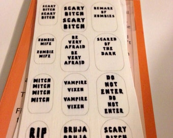 Halloween words Clear Nail Decals