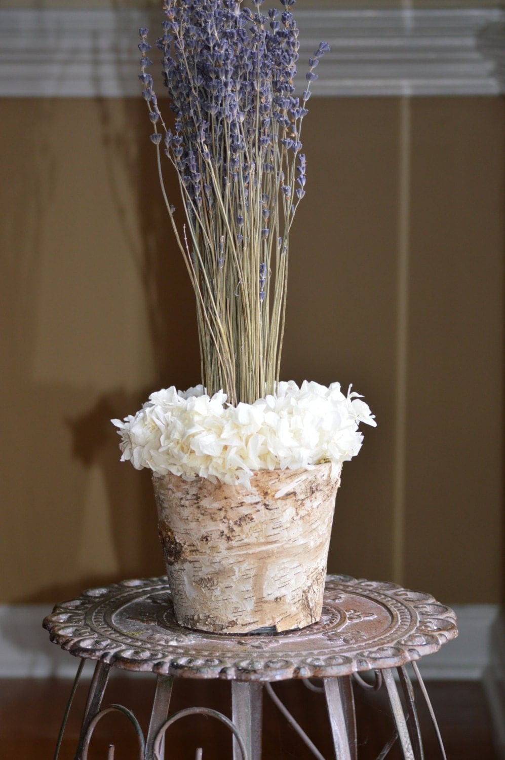 Dried lavender hydrangeas flower centerpiece
