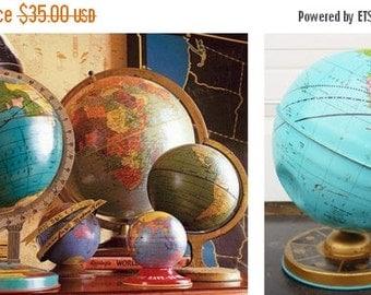 "ON SALE J Chein, World Globe, 1962, Tin Globe, 7. 1/2"", Vintage, Child's, Tin, Litho, Map, Blue, Gold, Yellow, Collectibles"