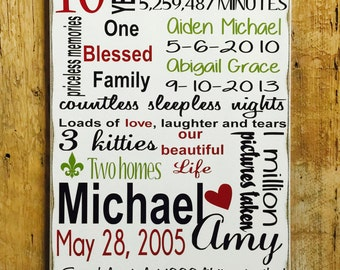 10th Anniversary Gift, Personalized 5th Anniversary Wood Sign, Personalized Wedding Gift, Family Date Sign, Custom Wood Sign, Gift for Her