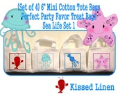"""Nautical Ocean Sea Life Creatures Lobster Jellyfish Star Fish Treat Favor Gift Bags Small Mini 6"""" White Canvas Totes Kids Children Set of 4"""