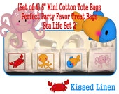 "Nautical Ocean Sea Life Creatures Crab Octopus Fish Treat Favor Gift Bags Small Mini 6"" White Canvas Totes Kids Children Bags Set of 4"