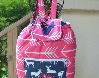 Handmade personalized hot pink arrow regular size backpack with navy blue deer accents