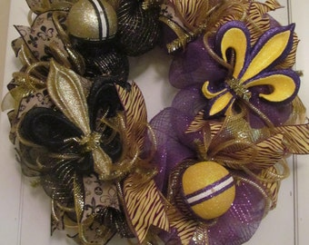 Saints LSU Deco Mesh Wreath - Handmade