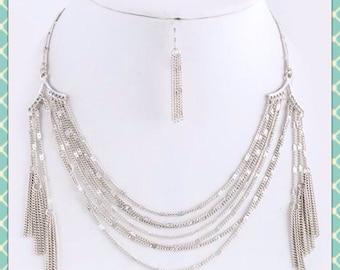 Silver Tassel Fringe Necklace