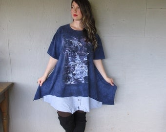 Sale upcycled tunic dress clothing wolf eagle Lagenlook dress western Prairie chic top X Large 1 X 2 X Boho Eco tunic by LillieNoraDryGoods