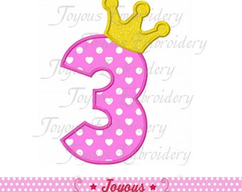 Instant Download Crown with Number 3 Embroidery Applique Design NO:1410