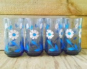 Blue Drinking Glasses Libbey Drink Ware Floral Tumblers Set of 4