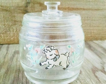 Vintage Glass Jar Mary Had A Little Lamb Nursery Vanity Container 1943 Kruger Baby Boy Baby Girl Clear Glass