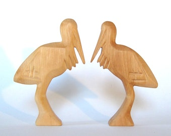 Stork, Wooden Animals, Carved Wooden Stork,