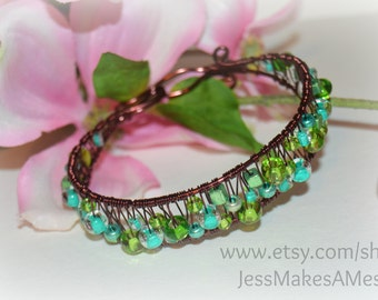 Brown and Greens, Beaded Copper Wire Wrapped Bangle Bracelet Handmade 7inch