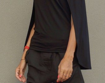 NEW S/S16 Black Viscose Tunic / Black Loose Blouse/ Tunic Top /  Loose slit sleeves  / Party top by AAKASHA A12479