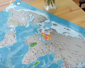 Scratch-off World Map Poster_Blue BG