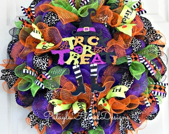 Halloween Wreath, Witch Wreath, Deco Mesh Wreath, Trick or Treat, Halloween Decor, Black Purple, Witch Decoration, Outdoor Wreath, Wreaths