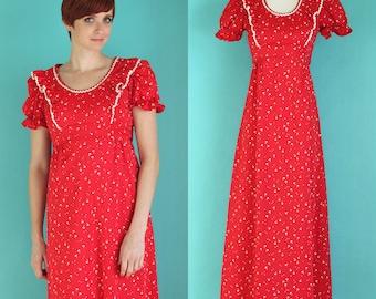Vintage 70s Maxi Dress - Red and White Boho Dress - Short Sleeve Hippie Dress - Long Ruffle Dress - Empire Waist Prairie Dress - Size Small