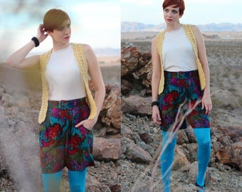 SALE: Vintage 90s High Waisted Shorts - Jewel Tone Long Shorts - Wide Leg Printed Shorts with Pockets - Elastic Waist Culottes - Size Medium
