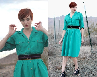 SALE: Vintage 80s Teal Shirt Dress - Long Sleeve Trench Dress with Pockets - Snap Front Cotton Midi Dress - Full Skirt Dress - Size Medium