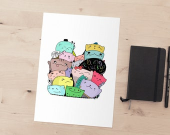 Feeling Lucky Kitty A4 Illustrated Cat Print
