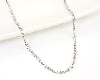Antique Silver Necklace Chain - 30 Inch Small Link Dark Silver Plated Cable Chain |CH2-AS30