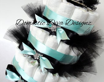 Diaper Cake - Audrey Hepburn Themed Tiara Princess Baby Shower Diaper Cake Centerpiece