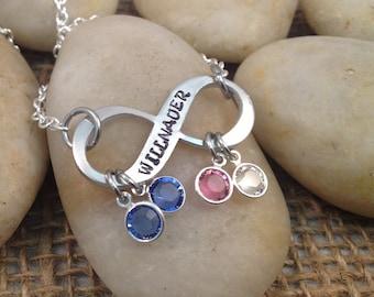 Infinity Stamped Necklace with Swarovski Birthstones