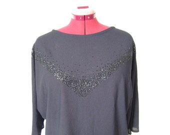 1980s Sheer Black T-Shirt Style Top with Sparkle Detail - Dark Minimalist - Large