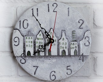 Gray Silver Houses Wall Clock, Dad Gift, Gift to our Father, Dad Appreciation Gift, Fathers Day Gift
