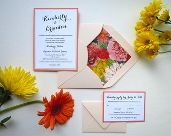 Floral Blush and Coral Wedding Invitation Set 4-Piece Set- Style 097