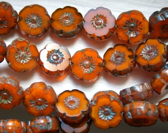 Czech Authentic Picasso 8 mm Burnt Orange Hawaiian Flower Beads