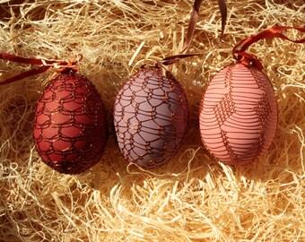 Handmade Copper Wire Wrapped Easter Eggs - Set of 3 - Garnet, Amethyst, Rose Quartz