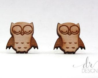 Laser Cut Wood Owl Stud Earrings-wood owl studs - wood owl earring studs - lasercut wooden earrings - small wood studs