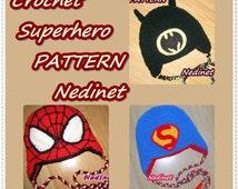 Crochet Superhero hat PATTERN, crochet hat pattern, diy tutorial, boy hat pattern, superhero pattern, Spiderman, Batman, Superman