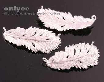 2pcs-24mmX12.5mm Matt Rhodium plated over Brass Nature delicate leaf,Feather Connector(K881S)