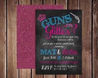 GUNS or GLITTER Gender reveal baby shower- 5x7 Double Sided PDF digital file